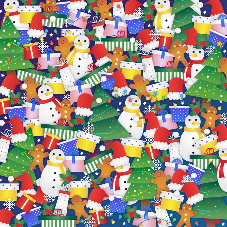 A hidden-image puzzle with Christmas objects