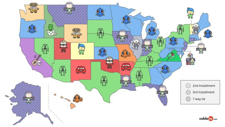 The Most Popular Pixar Movie in Each State map
