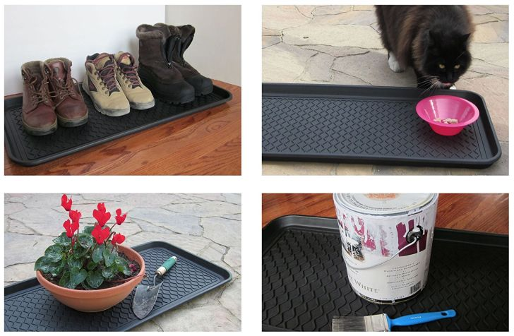 Four images of the Alex Carseon multi-purpose tray being used to store boots, gardening tools, a bucket, and cat food