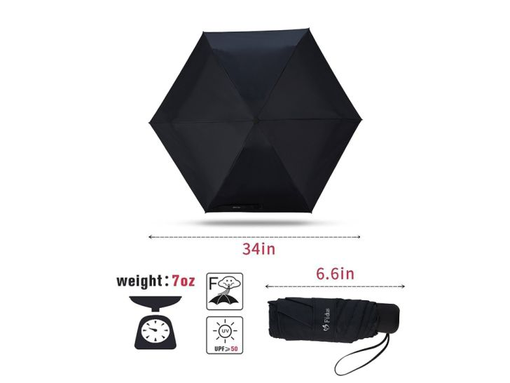 A diagram of the size of the pocket umbrella open and folded up