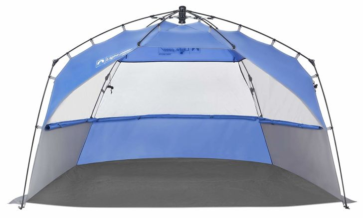 A blue and gray pop-up shelter