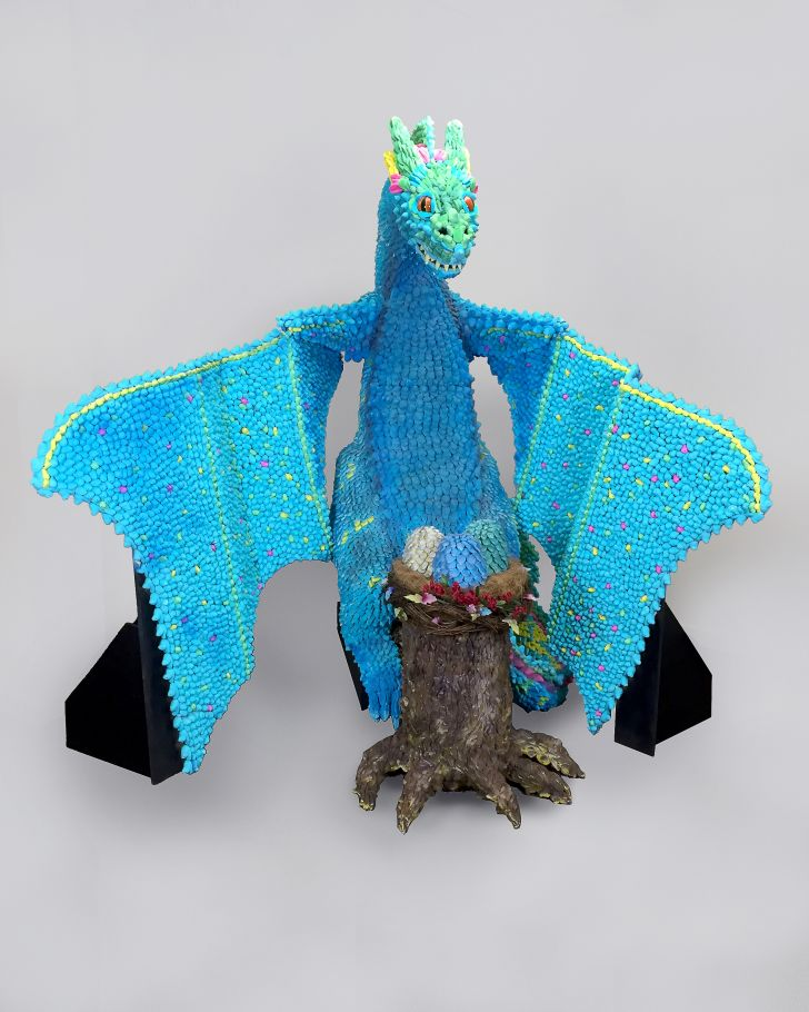 A 'Game of Thrones' dragon made of PEEPS chicks with its wings spread