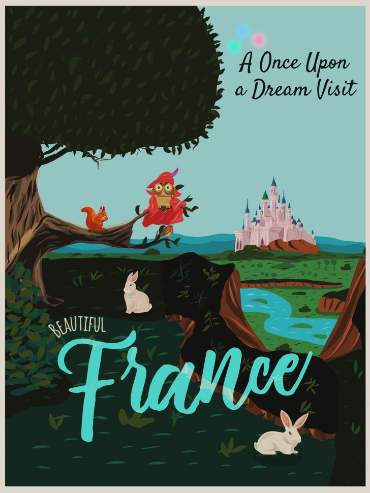 A Disney-inspired poster of France