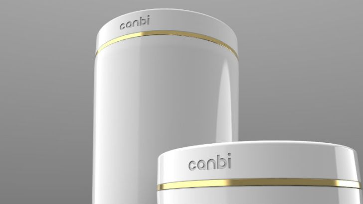 The large and small sizes of the Canbi garbage can are pictured