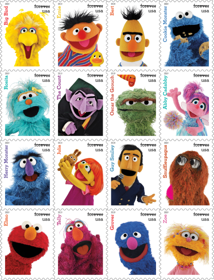 Sesame Street stamps from USPS.