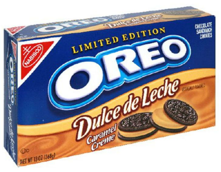 A package of Dulce de Leche Caramel Creme Oreo cookies is pictured
