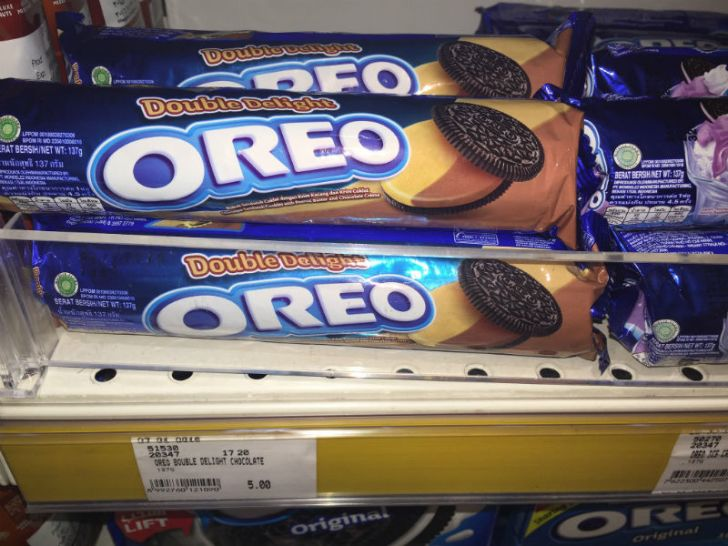 Packages of Double Delight Oreo cookies are seen on a store shelf