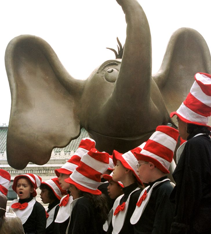 406079 02: Elementary school children, the Springfield Schools Seuss Singers perform in front of a bronze Horton the elelphant statue at the opening the Dr. Suess memorial sculpture garden May 31, 2001 in Springfield, MA.