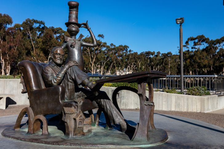 Statue of Dr. Seuss and The Cat in the Hat at University of California San Diego