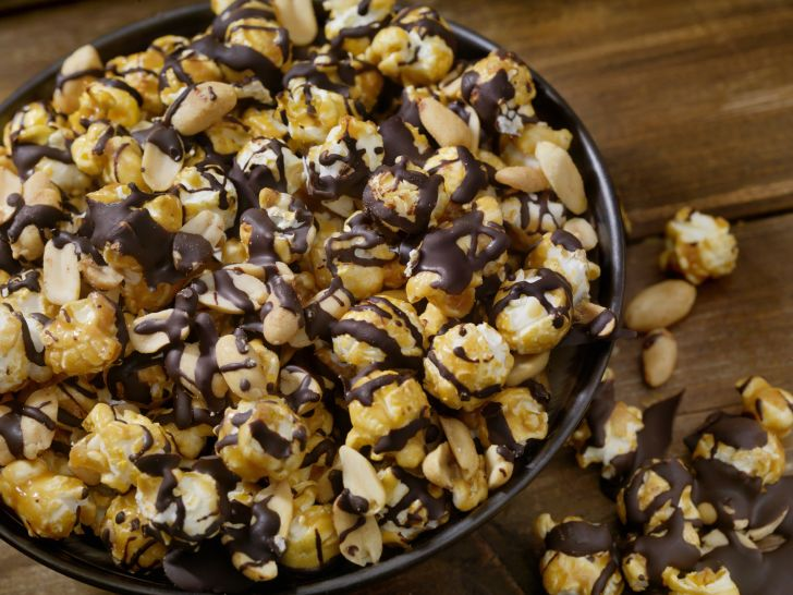 chocolate-covered popcorn in a bowl