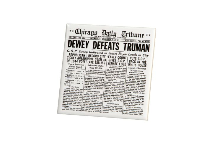 A ceramic tile with the image of the Chicago Daily Tribune's 'Dewey Defeats Truman' front page