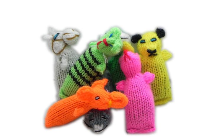 An array of knit cat toys