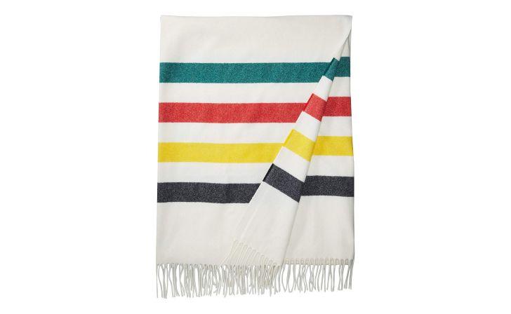 A striped Pendleton throw blanket