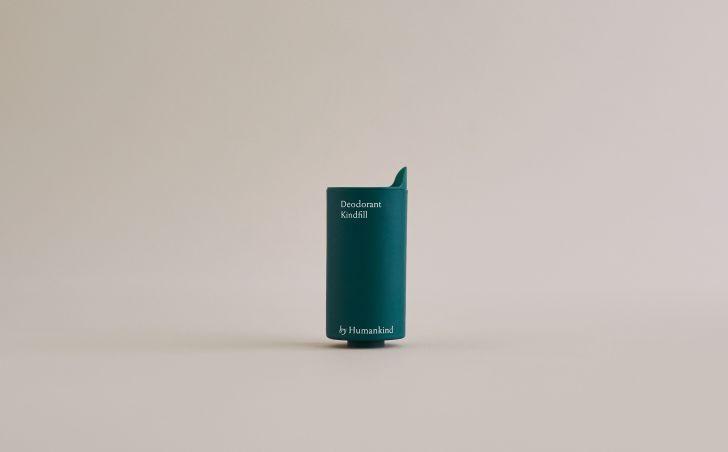 A green deodorant refill tube