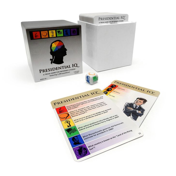 The 'Presidential IQ' card game on a table