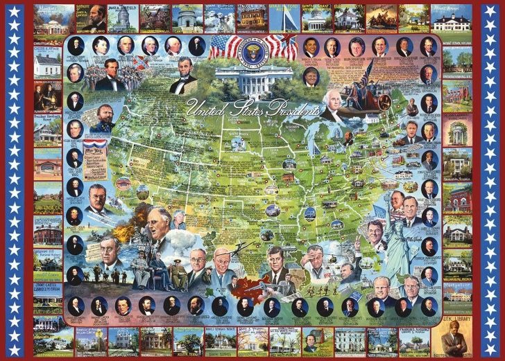 A puzzle with all of the U.S. presidents surrounding a map of the United States