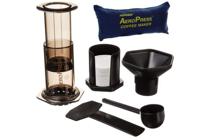 An Aeropress brewing kit