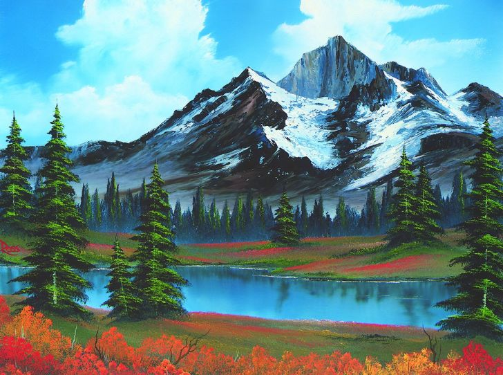 A Bob Ross landscape painting featuring a snowy mountain and a lake