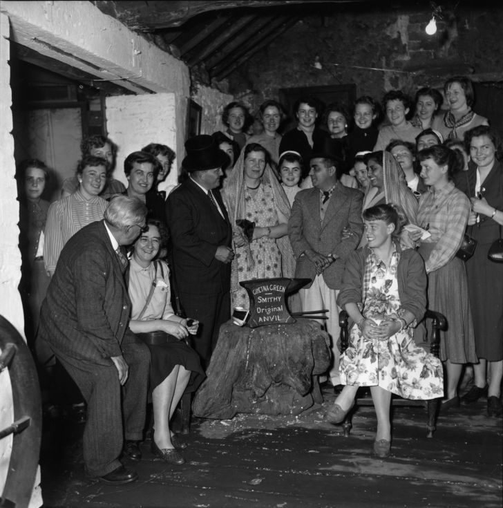 A wedding party during a wedding at Gretna Green Smithy