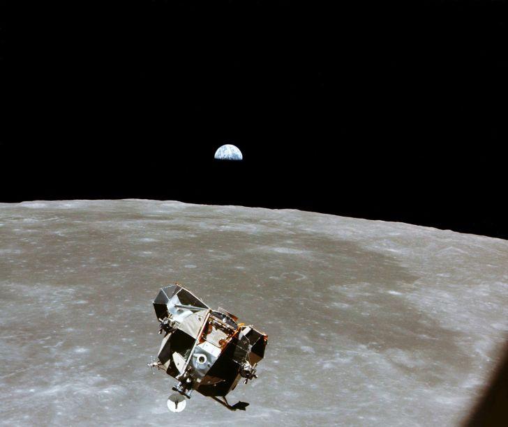 Lunar module over moon's surface.