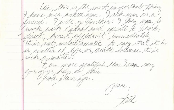 Letter from Ted Bundy to his lawyer J. Victor Africano.