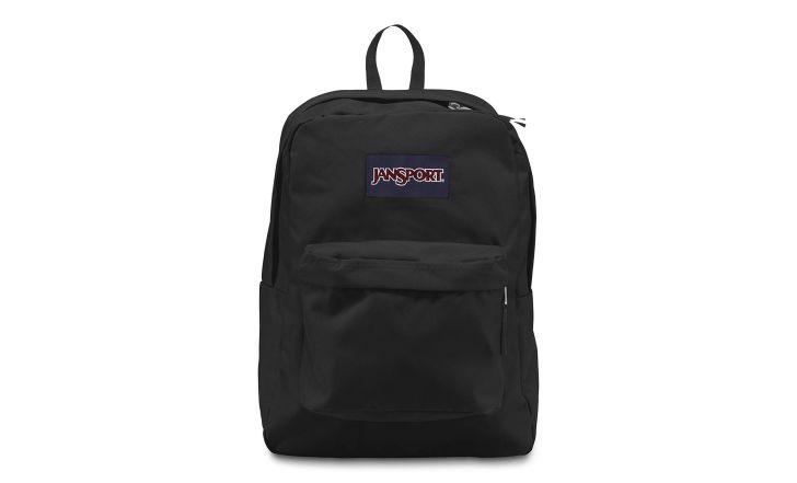A black JanSport backpack