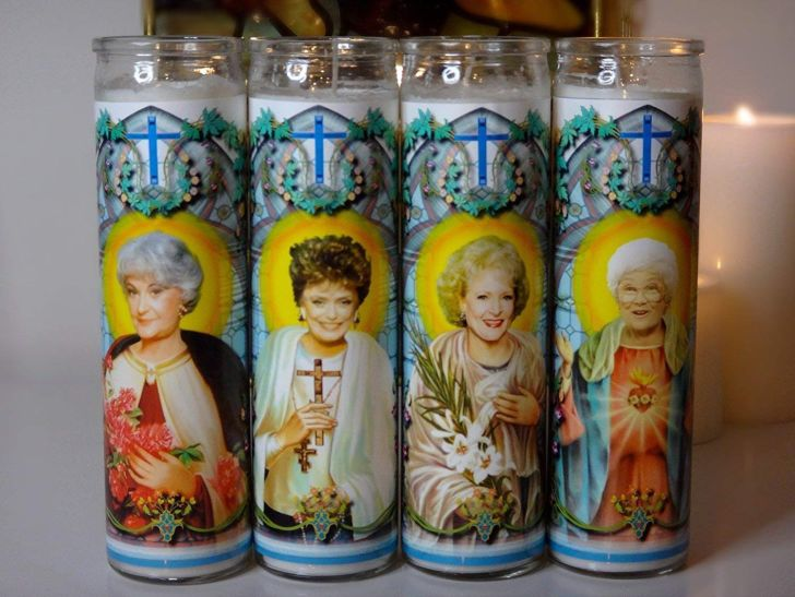 Four prayer candles with the cast of 'The Golden Girls' on them