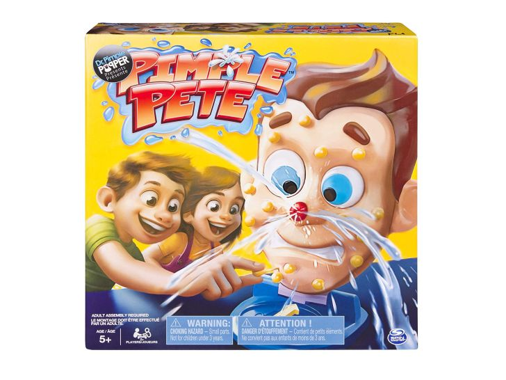 The cover of the Pimple Pete board game shows zits popping out of an illustrated face