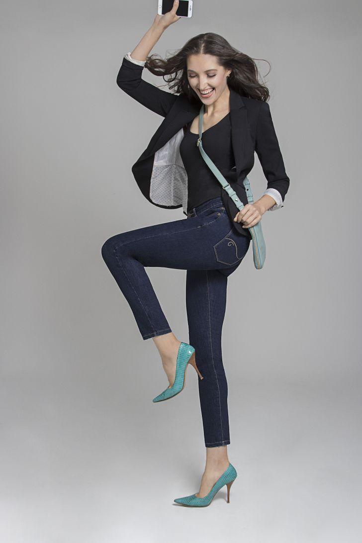 A woman models Radian jeans