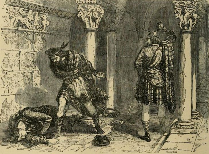 John Comyn is killed by Robert Bruce and Roger de Kirkpatrick before the high altar of the Greyfriars Church in Dumfries, 10 February 1306