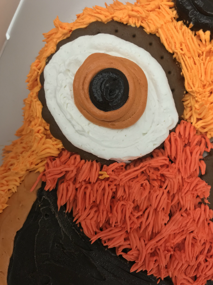 A close-up of a Gritty ice cream cake eye.