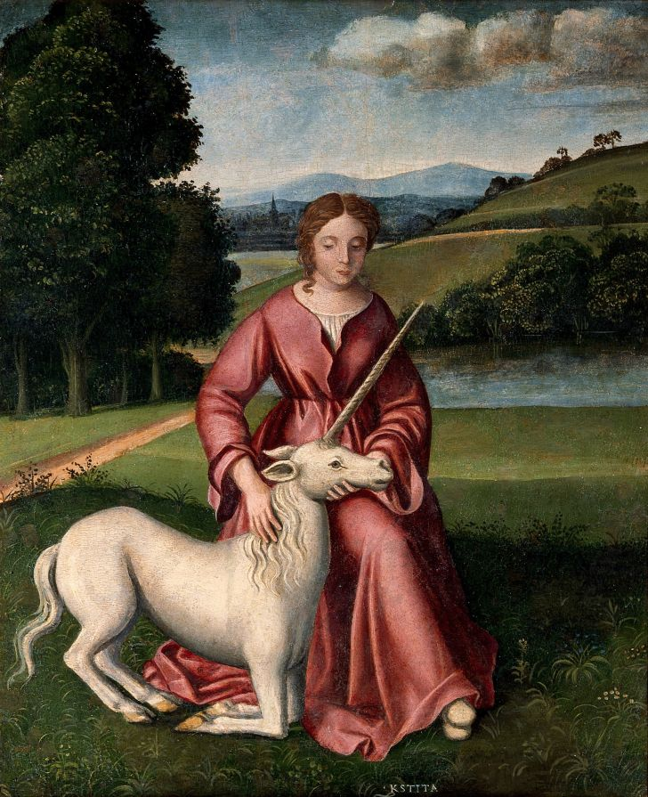 Oil painting of a woman and unicorn by a follower of Timoteo Viti