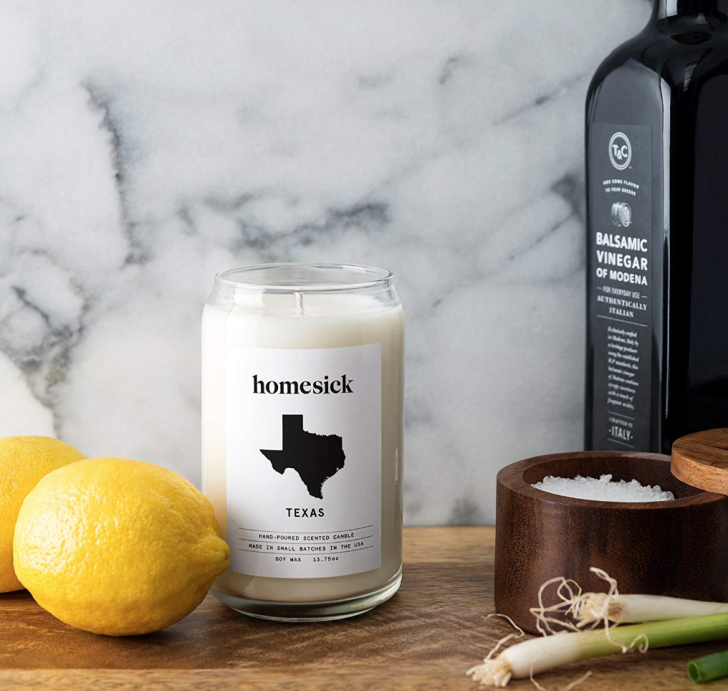 """A Homesick-brand scented candle labelled """"Texas"""""""