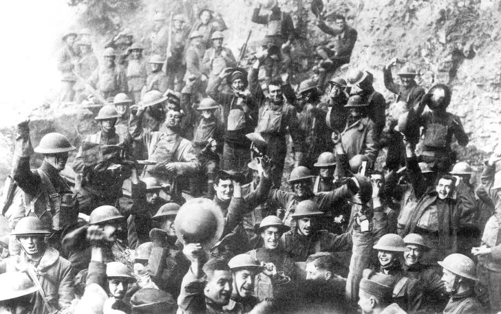 U.S. 64th Regiment celebrates the World War I armistice