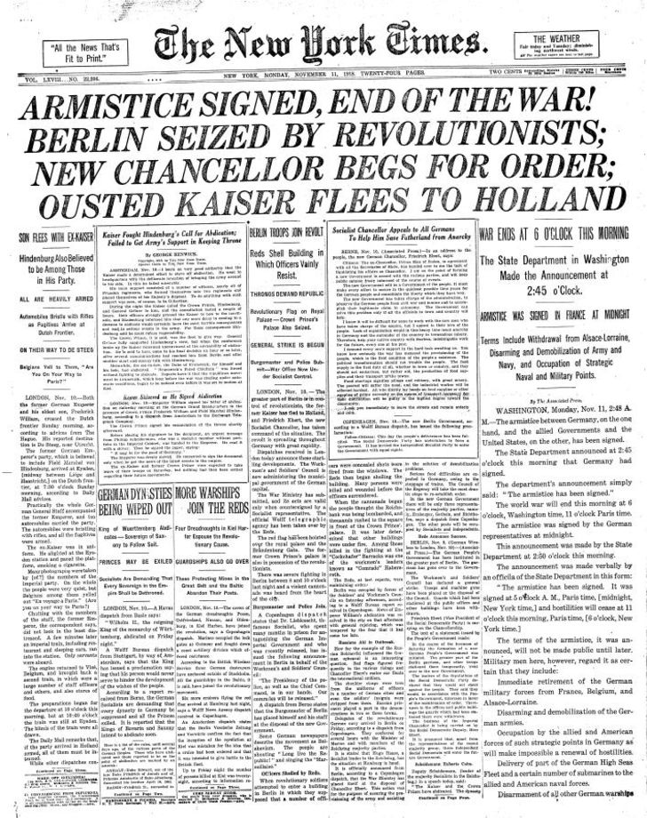 The front page of The New York Times, November 11, 1918 announcing WWI armistice