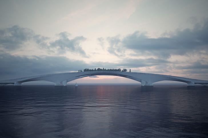 A rendering of a pedestrian bridge