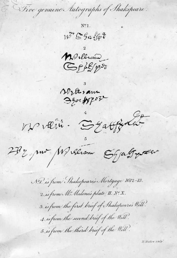 Five examples of the autograph of English playwright William Shakespeare, circa 1610.