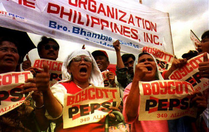 Protestors voice anti-Pepsi sentiment during a rally in Manila