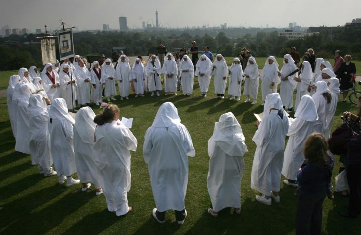 Members of The Druid Order of London conduct a ceremony on Primrose Hill to celebrate the Autumn Equinox on September 22, 2008 in London, England.