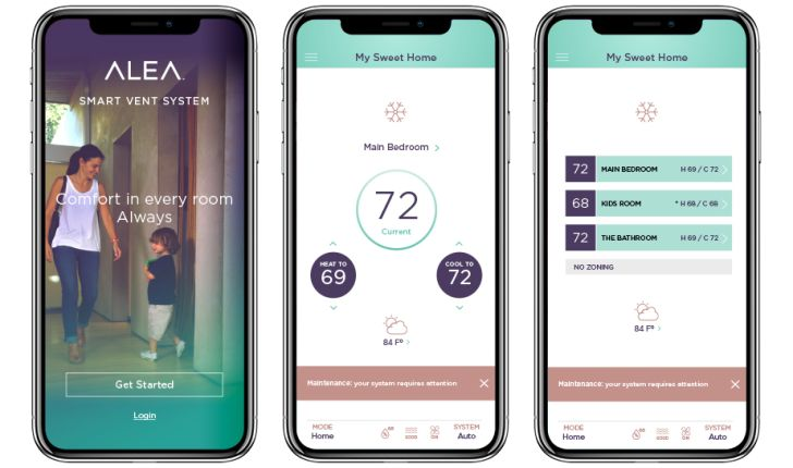 Screenshots of the Alea app showing temperature monitoring and adjustment functions