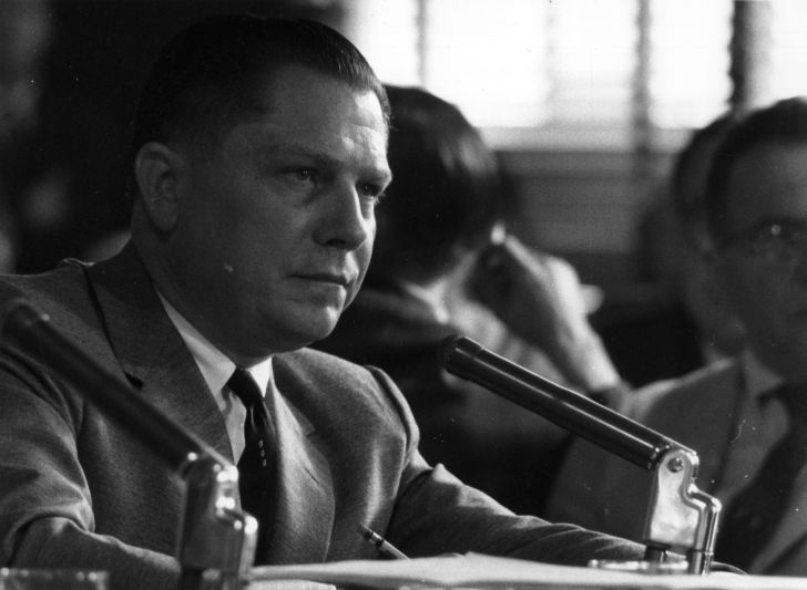Jimmy Hoffa testifying at an investigation