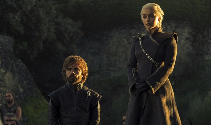 Peter Dinklage and Emilia Clarke in a scene from 'Game of Thrones'