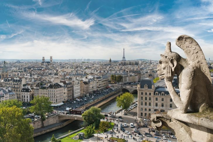 Gargoyle and wide city view from the roof of Notre-Dame