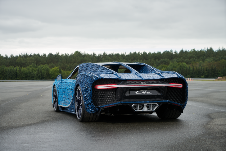 The rear of LEGO's blue full-sized sports car