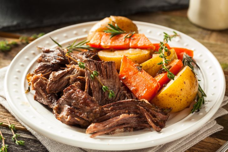Pot roast on a plate.