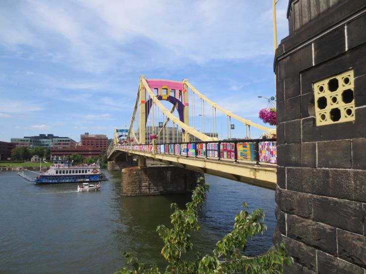 The Andy Warhol bridge wrapped in yarn.