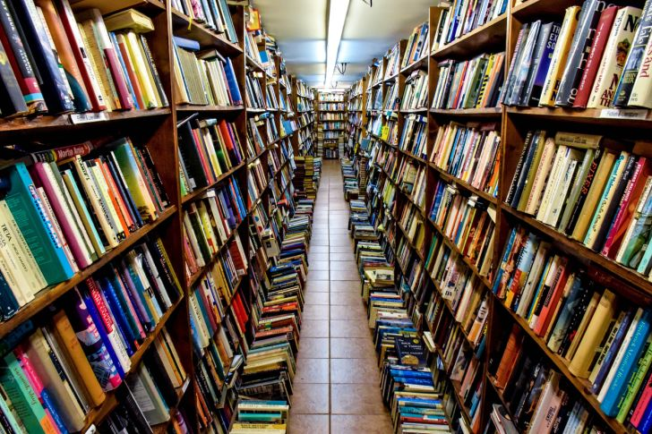 Long rows of books at a bookstore