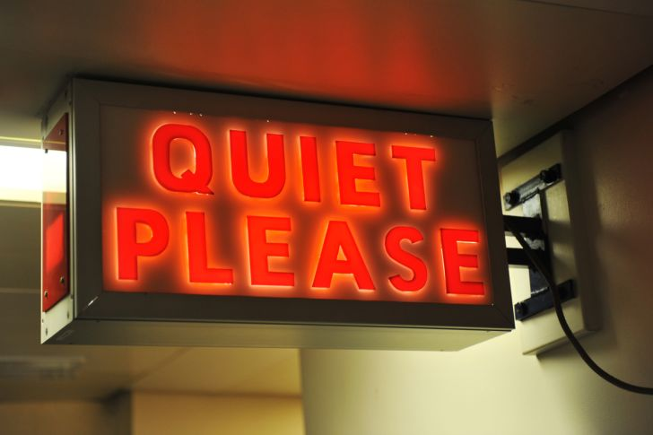 "A ""quiet please"" radio sign"