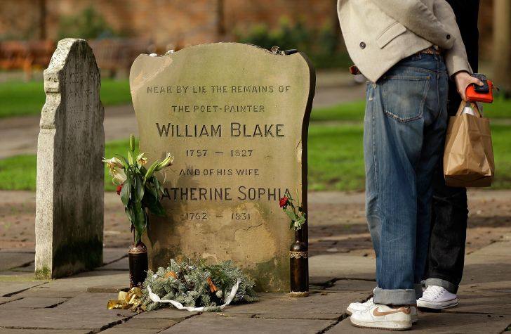 An older memorial marking the general area where William Blake is buried