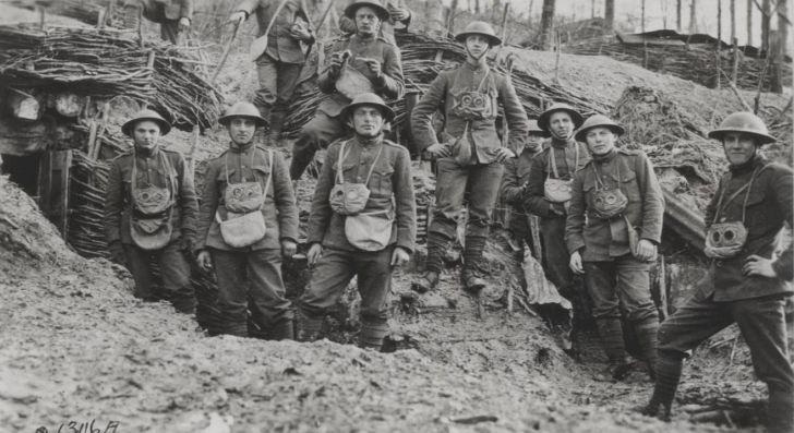 World War I marines with gas masks, July 1918